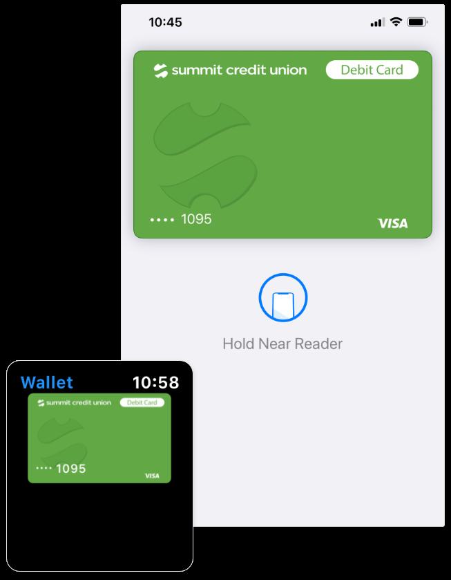 Digital wallet on mobile screen
