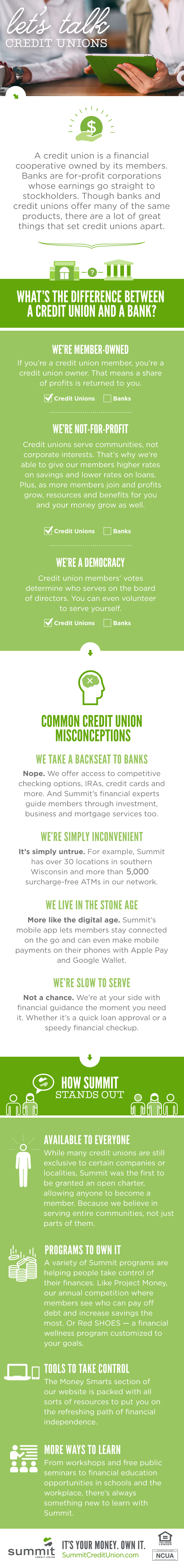 what's the difference between a bank and a credit union? | summit